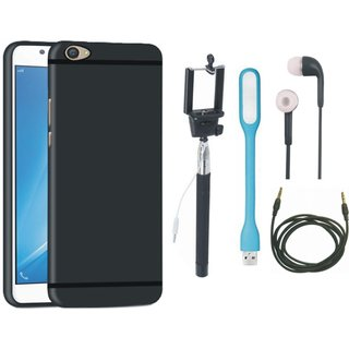 Samsung J7 Prime SM-G610F Back Cover with Selfie Stick, Earphones, USB LED Light and AUX Cable