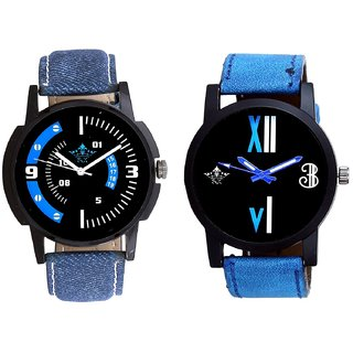 Awesome Blue Sport Dial And Roman White - Blue Fancy Men's Analog Combo Casual Wrist Watch By SCK