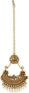 Asmitta Traditional Chandbali Jalebi Design Gold Plated Lct Stone Mangtikka For Women
