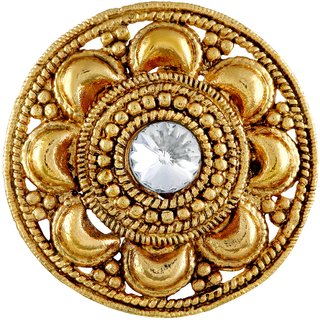 Asmitta Traditional Flower Design Gold Plated Finger Ring For Women