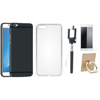 Vivo V7 Soft Silicon Slim Fit Back Cover with Ring Stand Holder, Free Selfie Stick and Tempered Glass