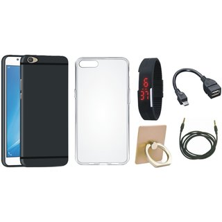 Vivo V7 Soft Silicon Slim Fit Back Cover with Ring Stand Holder, Silicon Back Cover, Digital Watch, OTG Cable and AUX Cable