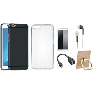 Vivo V7 Soft Silicon Slim Fit Back Cover with Ring Stand Holder, Silicon Back Cover, Tempered Glass, Earphones and OTG Cable