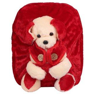 Aliado Faux Fur Red Coloured Zipper Closure Backpack
