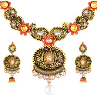 Asmitta Classy Oveal Shape Gold Plated Choker Style Necklace Set For Women