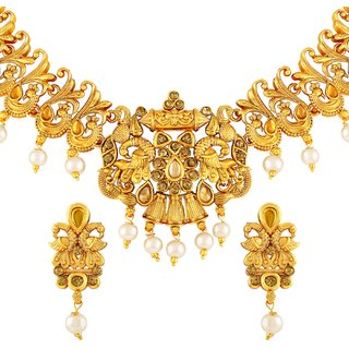 Asmitta Peacock Gold Plated Lct Stone Necklace Set For Women