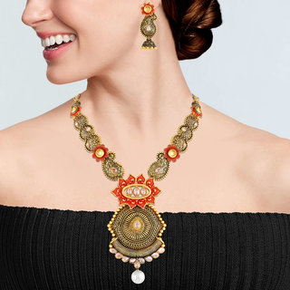 Asmitta Flower Design Gold Plated Choker Style Necklace Set For Women