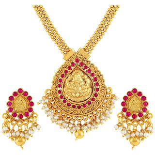 Asmitta Traditional Laxmi Pendent Gold Plated Matinee Style Necklace Set For Women