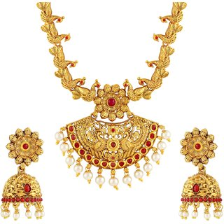 Asmitta Gold Plated Red Stone Necklace Set For Women at Shopclues ₹ 499