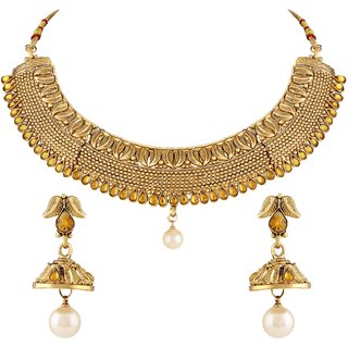 Asmitta Traditional Leaf Shape Gold Plated Choker Style Necklace Set For Women