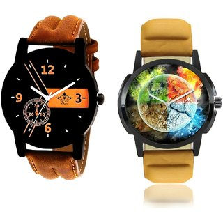 Stylish 3D Designer And Luxury Brown Leather Strap Men's Combo Wrist Watch By Ram Enterprise