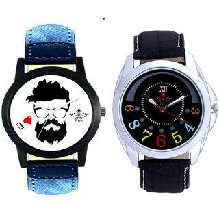 I Love Rock And Classical Black Round Dial Men's Combo Quartz Watch By Ram Enterprise