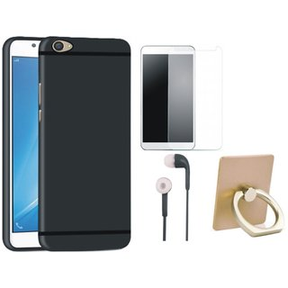 Redmi Y1 Lite Stylish Back Cover with Ring Stand Holder, Tempered Glass and Earphones