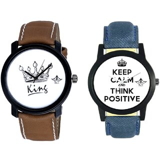 Power Of Positive Thinking And King Dial Men's Combo Analog Wrist Watch By Ram Enterprise