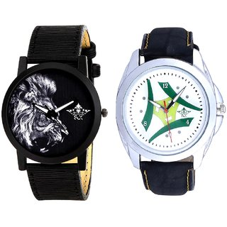 Luxury Green Tri Fan And White Lion Men's Combo Quartz Watch By Ram Enterprise