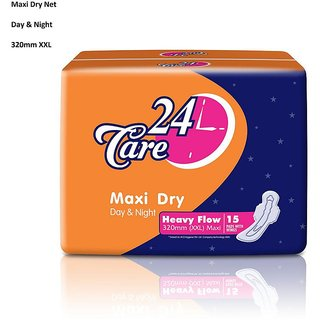 24 Care Maxi Dry Day Night Heavy Flow XXL 320mm Pack Of 15 Sanitary Napkins Pads