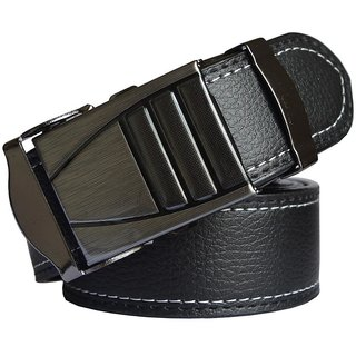 Sunshopping mens black leatherite auto lock buckle belt (Synthetic leather/Rexine)