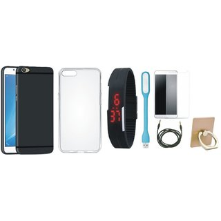 Redmi Y1 Lite Back Cover with Ring Stand Holder, Free Digital LED Watch, Tempered Glass, LED Light and AUX Cable