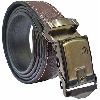 Sunshopping mens brown leatherite auto lock buckle belt (Synthetic leather/Rexine)