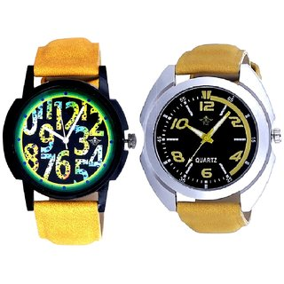 Fancy Yellow Sports Strap And Awesome Exclusive Digits Men's Combo Casual Watch By Google Hub
