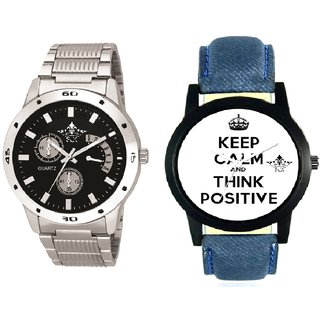 Power Of Positive Thinking And Luxury Black Dial Metal Belt Men's Combo Analog Wrist Watch By Gujrat Hub