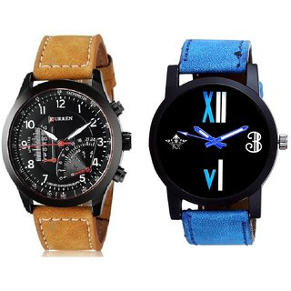 Curren Meter Leather Hand Strap And Roman White - Blue Fancy Men's Analog Combo Casual Wrist Watch By Ram Enterprise
