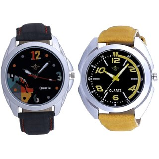 Fancy Yellow Sports Strap And Goal Achived Art Men's Combo Wrist Watch By Google Hub