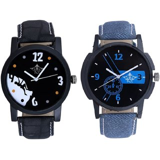 Attractive Blue Dial And Goal Achived Motivated Men's Analog Combo Casual Wrist Watch By Gujrat Hub