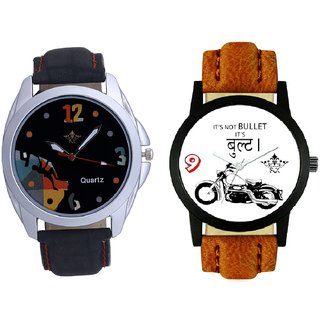 Royal Bullet And Goal Achived Art Men's Combo Wrist Watch By Gujrat Hub
