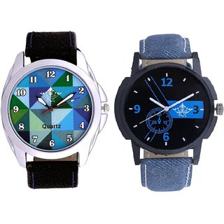 Attractive Blue Dial And Royal Sky Colour Art Men's Combo Casual Watch By Gujrat Hub
