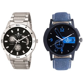 Attractive Blue Dial And Luxury Black Dial Metal Belt Men's Combo Analog Wrist Watch By Gujrat Hub
