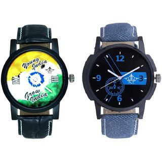Attractive Blue Dial And Young India Grow India Men's Analog Combo Casual Wrist Watch By Gujrat Hub
