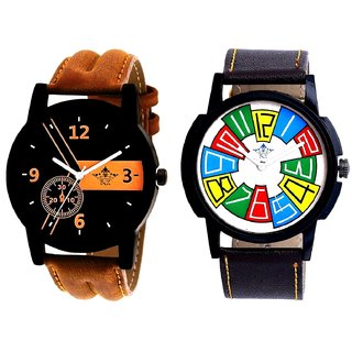 Luxury Brown Leather Strap And Exclusive Multi Colour Men's Combo Wrist Watch By Gujrat Hub