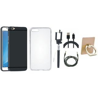 Oppo F3 Silicon Slim Fit Back Cover with Ring Stand Holder, Silicon Back Cover, Selfie Stick, USB Cable and AUX Cable