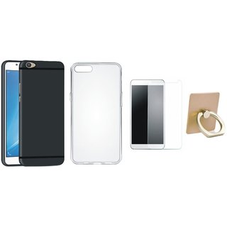 Oppo F3 Silicon Slim Fit Back Cover with Ring Stand Holder, Silicon Back Cover, Tempered Glass