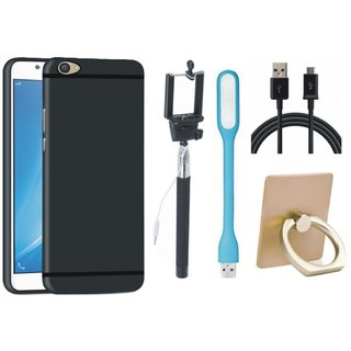 Oppo A57 Soft Silicon Slim Fit Back Cover with Ring Stand Holder, Selfie Stick, USB LED Light and USB Cable
