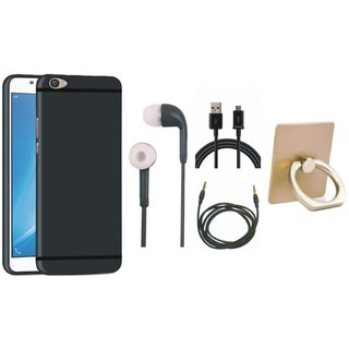 Oppo A57 Soft Silicon Slim Fit Back Cover with Ring Stand Holder, Earphones, USB Cable and AUX Cable