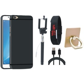 Vivo V7 Plus Soft Silicon Slim Fit Back Cover with Ring Stand Holder, Selfie Stick, Digtal Watch and USB Cable