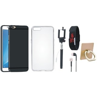 Oppo F3 Premium Quality Cover with Ring Stand Holder, Silicon Back Cover, Selfie Stick, Digtal Watch and Earphones