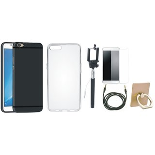 Vivo V7 Plus Soft Silicon Slim Fit Back Cover with Ring Stand Holder, Free Selfie Stick, Tempered Glass and AUX Cable
