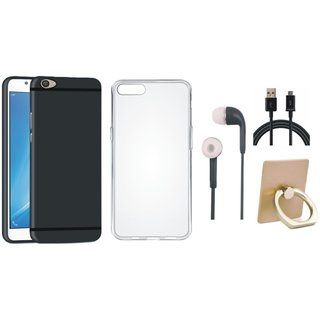 Vivo V7 Plus Soft Silicon Slim Fit Back Cover with Ring Stand Holder, Silicon Back Cover, Earphones and USB Cable