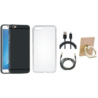 Oppo F3 Stylish Back Cover with Ring Stand Holder, Silicon Back Cover, USB Cable and AUX Cable