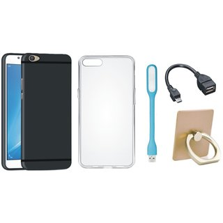 Vivo V7 Plus Soft Silicon Slim Fit Back Cover with Ring Stand Holder, Silicon Back Cover, USB LED Light and OTG Cable