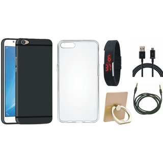 Vivo V7 Plus Soft Silicon Slim Fit Back Cover with Ring Stand Holder, Silicon Back Cover, Digital Watch, USB Cable and AUX Cable
