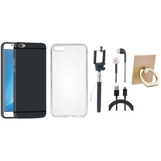 Vivo V7 Plus Soft Silicon Slim Fit Back Cover with Ring Stand Holder, Silicon Back Cover, Selfie Stick, Earphones and USB Cable