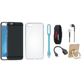 Oppo A57 Soft Silicon Slim Fit Back Cover with Ring Stand Holder, Silicon Back Cover, Digital Watch, Earphones, USB LED Light and OTG Cable