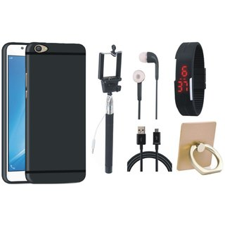 Oppo F3 Silicon Anti Slip Back Cover with Ring Stand Holder, Selfie Stick, Digtal Watch, Earphones and USB Cable