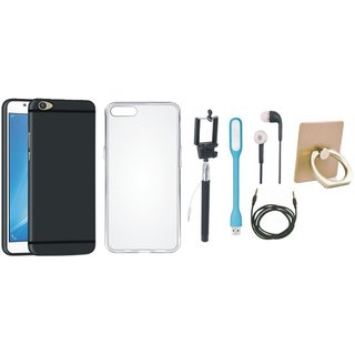 Vivo V7 Plus Silicon Slim Fit Back Cover with Ring Stand Holder, Silicon Back Cover, Selfie Stick, Earphones, USB LED Light and AUX Cable