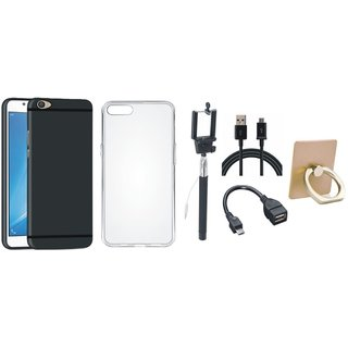 Vivo V7 Plus Silicon Slim Fit Back Cover with Ring Stand Holder, Silicon Back Cover, Selfie Stick, OTG Cable and USB Cable