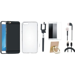 Oppo F3 Silicon Slim Fit Back Cover with Ring Stand Holder, Free Selfie Stick, Tempered Glass, Earphones and USB Cable